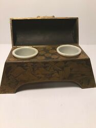 Museum Quality Antique Japanese Bronze Double Inkwell Hand Engraved