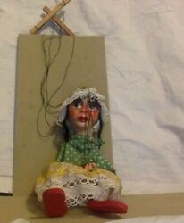 Vintage Puppet . Clay And Cloth Marionette. Mexican Lady. Hand Painted. .