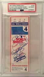 Ron Cey P. Guerrero Steve Yeager Signed 1981 World Series Ticket Ws Mvp's Psa
