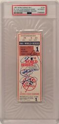 Ron Cey P. Guerrero Steve Yeager Signed 1981 World Series Ticket Ws Mvp Psa
