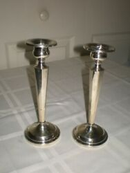 Rare 2 J.e Caldwell 131 Sterling Silver Candlestick Candle Hholder 7 Octagon