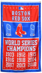Boston Red Sox 9 Time World Series Champions Flag Banner 3x5 Feet Man Cave