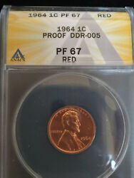 1964 Anacs Pr67rd Doubled Die Coneca Ddr-005 Lincoln Cent Scarce And New Holder
