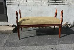 Regency Style Long Carved Window Bedroom Bench, New Upholstery, C. 1920