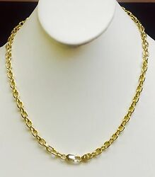 14kt Solid Yellow Gold Handmade Rolo Link Menand039s Chain/necklace 20 40 Grams 6 Mm