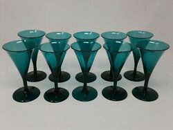 Antique Bristol Green Georgian Trumpet Port Wine Glasses Ca. Early To Late 1800
