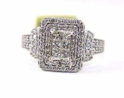 Natural Princess Cut Diamond Cluster Invisible Ladyand039s Ring 14k White Gold 1.10ct