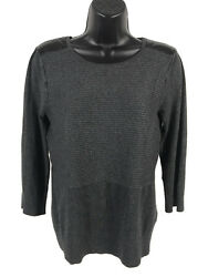 Cable & Gauge Ribbed Sweater Womens Size S Small Gray Vegan Leather Patches