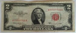 ✰ Sextuple 7 Serial 77777746 Red Seal 2 Two Dollar Bill 1953-c Old Us Note ✰