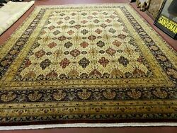 9and039 X 12and039 One-of-a-kind Hand-knotted Indian Wool Rug Floral Agra Vegetable Dyes