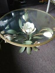 Beautiful Custom Made Metal Flower Base Table With Glass Top