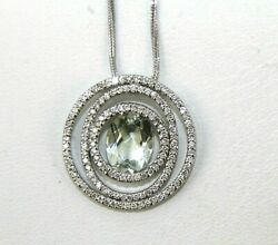 Natural Oval Green Amethyst And Diamond Halo Pendant 14k White Gold 2.45ct