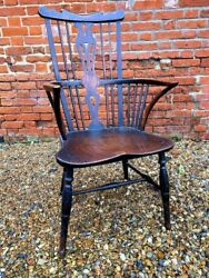 Mid 18thc English Antique Thames Valley Fruitwood And Elm Windsor Armchair