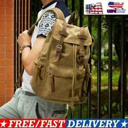 Canvas Travel Sport Camping School Satchel Laptop Hiking Bag Backpack Rucksack $9.99