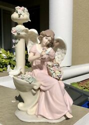 Beautiful Vintage Lladro-style Hand Painted Porcelain Angel In Garden