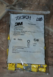 Bag Of 50 3m Vinyl Insulated Butted Seam Ring Tongue Andfrac14andrdquo Stud 12-10 Awg 13-14s-p