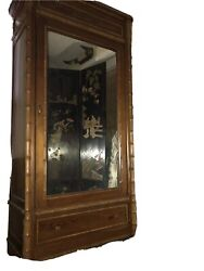 Faux Bamboo Mirrored Door Cabinet Hollywood Regency Palm Beach Style
