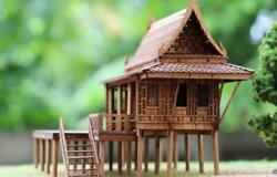 Central Thai Asian House Traditional Miniature Solid Teak Wood Hand Made