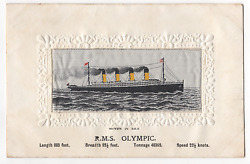 Rms Olympic Silk Postcard White Star Line R.m.s.titanic And Olympic Interest