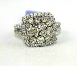 Natural Round Diamond Cluster Square Ladyand039s Ring 14k White Gold 2.23ct
