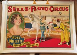 Sells-floto Circus Poster - Rose Millette Equestrian 1932 Orig Stone Litho 1-sht