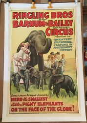 Ringling Bros Circus Poster - Pigmy Elephants -1938 Orig Erie Stone Litho 1-sht