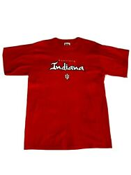 Sport Attack Vtg Indiana University Hoosiers Stitched Red Shirt Size Large