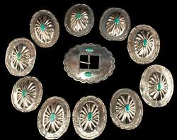 Vintage Native American Turquoise Sterling 11 Piece Concho Belt Set