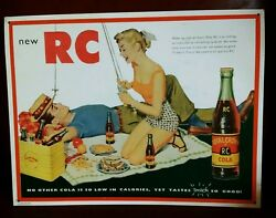 Think Summer Royal Crown Cola Glass Bottles Fishing On A Picnic Old Metal Sign