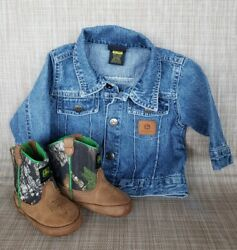 Infant John Deere Leather/camo Crib Boots 3 Mos And Denim Jean Jacket 0-6 Mos