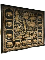 Vintage Burmese Kalaga Hand Crafted Embroidered Tapestry Framed Wall Art X-large