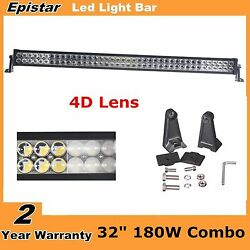 4d+ Lens 42inch 240w Led Work Light Bar Spot Flood Combo Offroad Fits For Jeep