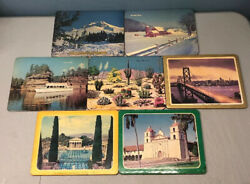 Vintage 7 Pc Lot Hot Pads Plaque Wall And Table Cork Pad Travel Scenery