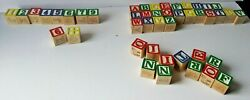 Vintage Wood Alphabet Blocks Lot Of 45. Mixed Numbers, Letters, Images And Colors