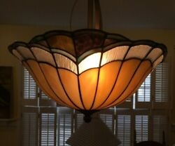 Asymmectrical Nouveau Style Artdeco Stained Glass Dining Room Chandelier