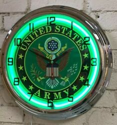 United States Army Military Green Neon Wall Clock Car Truck Automotive Sign