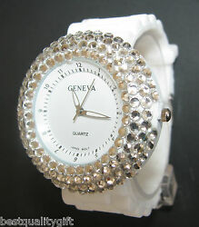 New Geneva White Silicone Band+stainless Steel Dial+crystals Watch Rw-46
