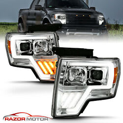For 2009-2014 Ford F150 Switchback Led Tube Chrome Projector Headlights Conor