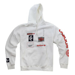 Adidas Men's Patch Pullover Hoodie White-Red-Black GL4220