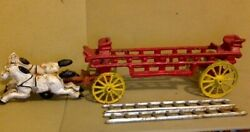Long 14 Antique Cast Iron Toy. 2 Carriage Horses, Fire Truck Base And 2 Ladders.