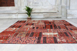 Antique Handmade Vintage Ethnic Patchwork Decorative Carpet Area Rug 9and03910x7and0393