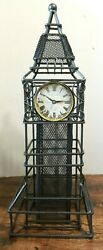 Poirot And Germain Metal And Mesh Tower Clock - Working Industrial 19 1/2 Tall