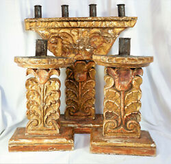 Large Scale Antique Spanish Colonial Wood Gilt Candlesticks 3-pieces