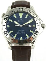 Omega Seamaster Professional 2265.80 Large Electric Blue Diver Leather Watch