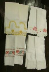 4 Pair Vintage Pillowcases Embroidered Lace Crochet 8 Total Pillowcases Linen
