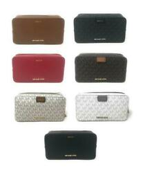 Michael Kors Large Jet Set Travel Double Zip Travel Cosmetic Leather Case Pouch $59.94