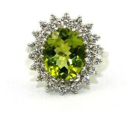 Natural Oval Green Peridot And Diamond Halo Solitaire Ring 18k White Gold 5.50ct