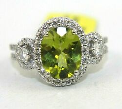Natural Oval Green Peridot And Diamond Halo Solitaire Ring 14k White Gold 3.69ct
