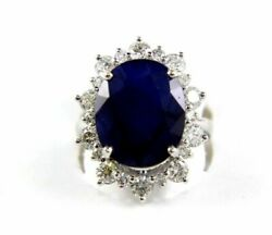 Natural Oval Blue Sapphire And Diamond Halo Solitaire Ring 14k White Gold 13.88ct