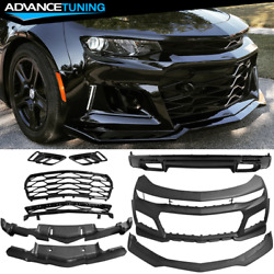 Fits 16-18 Chevy Camaro Zl1 Style Front Bumper Cover Oe Style Rear Lip Unpainted